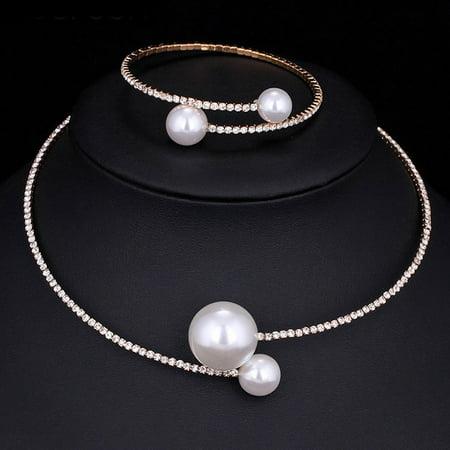Crystal Bridal Jewelry (Fashion Women Simple Simulated Pearl Bridal Jewelry Sets Crystal Wedding Necklace+Bracelet Set New )