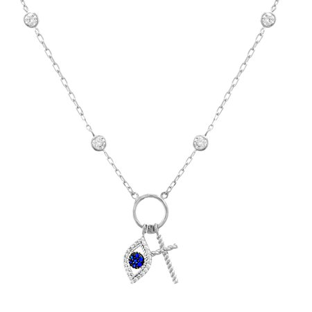 My Bible Women's Blue and White Cubic Zirconia Evil Eye and Cross Charm 16