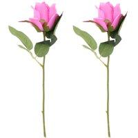 Room Fabric Artificial Rose Flower Vase Holder Desktop Decor Dark Pink 2pcs