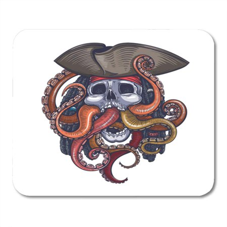 KDAGR Octopus Color Skull Pirate Tattoo Scary Sea Halloween Cool Mousepad Mouse Pad Mouse Mat 9x10 inch - Halloween Scary Skull
