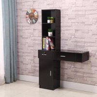 Ktaxon Wall Mount Beauty Salon Spa Cabinet Hair Styling Station Shelf Desk Black