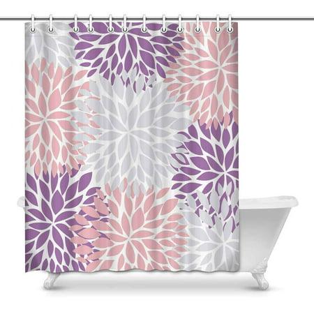 MKHERT Dahlia Pinnata Flower Gray Purple and Light Pink Waterproof Polyester Fabric Shower Curtain Bathroom Sets Home Decor 60x72 inch (Grey And Purple Shower Curtain)