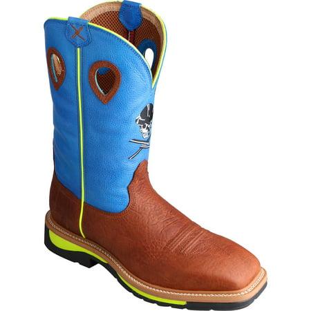 Twisted X Men's Neon Blue Lite Cowboy Work Boot Soft Square Toe - Mlcw012 -  Walmart.com