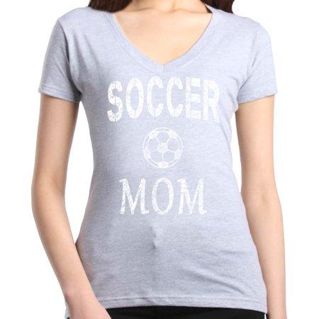 Shop4Ever Women's Soccer Mom Sporty Mom Slim Fit V-Neck T-Shirt - Soccer Mom Emoji