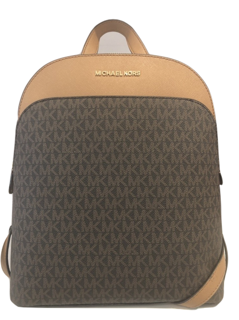 MICHAEL Michael Kors Emmy Large Leather Signature Backpack- Brown