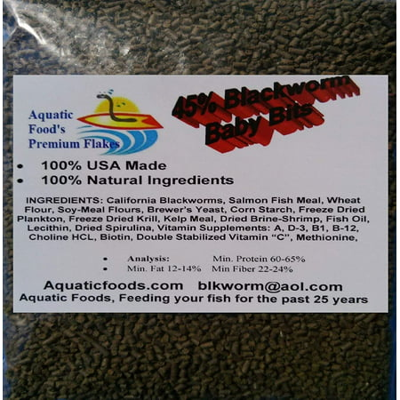 Aquatic Foods 45% California Blackworm Sinking Baby Bits, Perfect for small Discus, Cichlids, All Tropical Fish - 1-lb (Discus Sinking Granules)