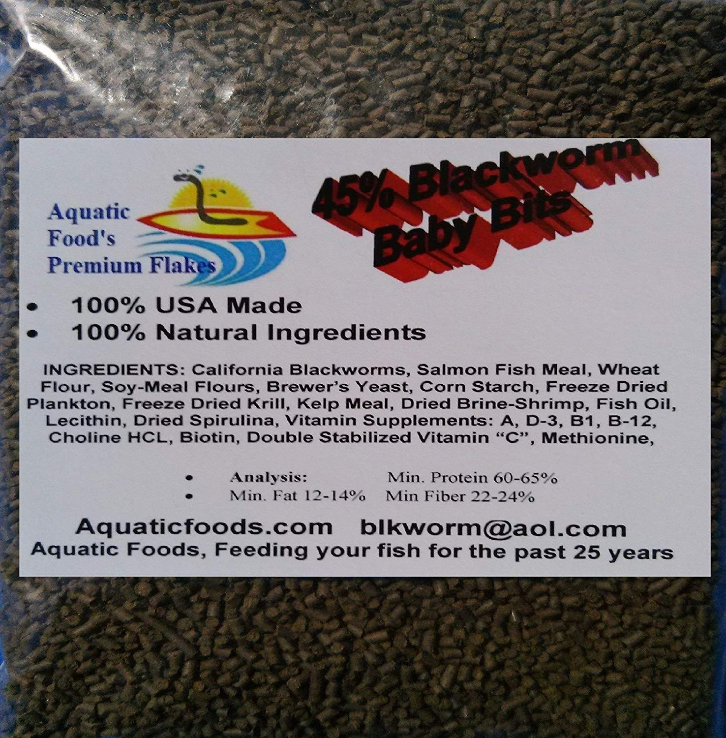 Aquatic Foods 45% California Blackworm Sinking Baby Bits, Perfect for small Discus, Cichlids, All Tropical Fish - 1/8-lb