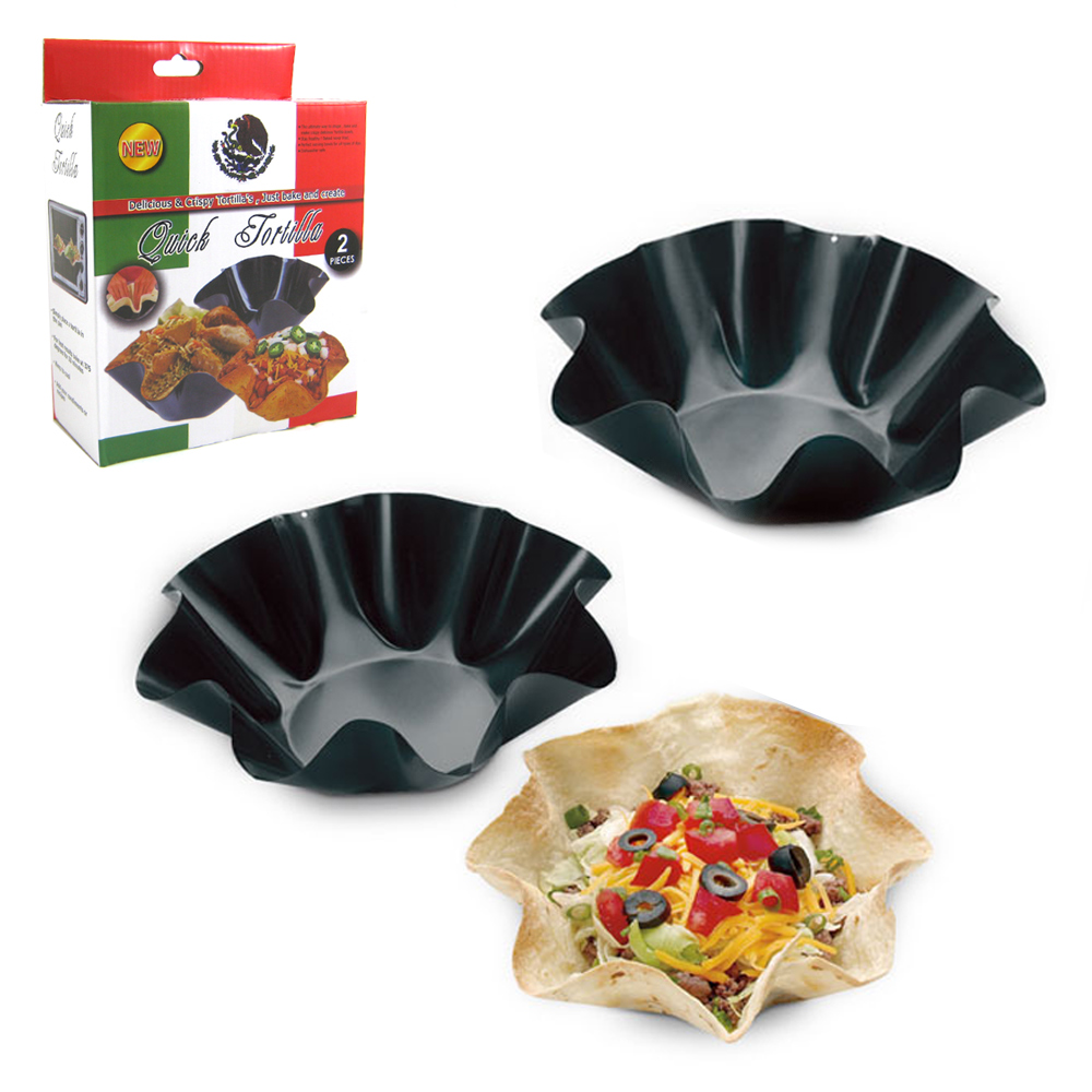 2 Quick Easy Tortilla Maker Taco Bowl Press Shell Nonstick Pan Baker Mold Salad