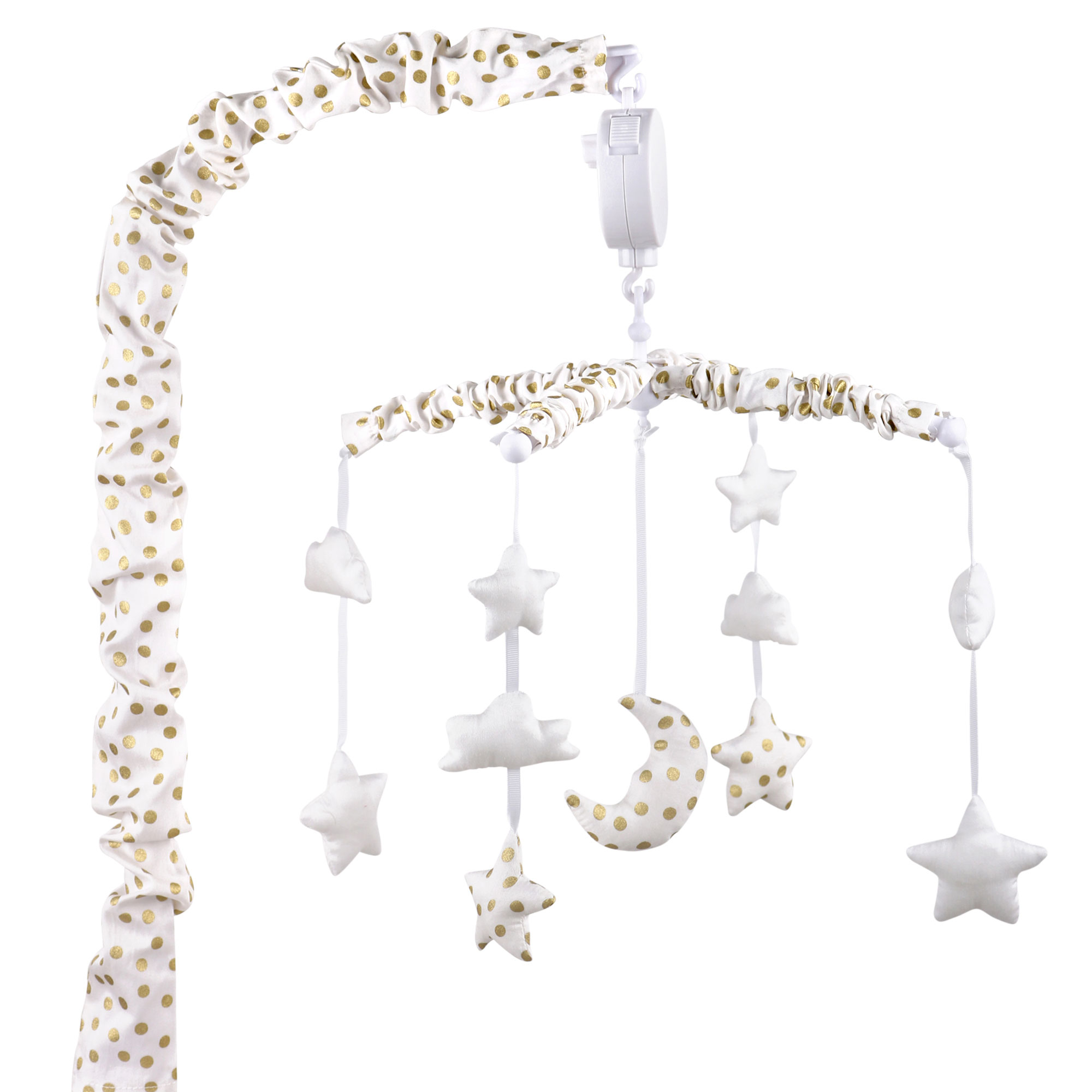 The Peanut Shell Musical Crib Mobile - Metallic Gold Confetti Dots with Moon, Clouds and Stars - Fits Most Standard Size Cribs