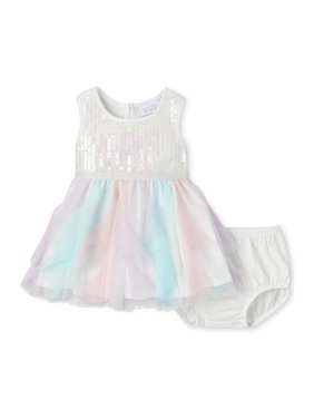 The Children's Place Baby Girl Sleeveless Sequin Ruffle Dress
