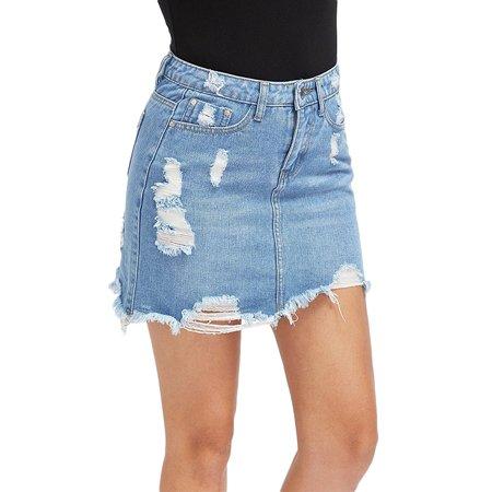 JDinms Womens Summer High Waist Denim Ripped Distressed Bodycon Mini Jean - Distressed Mini Skirt