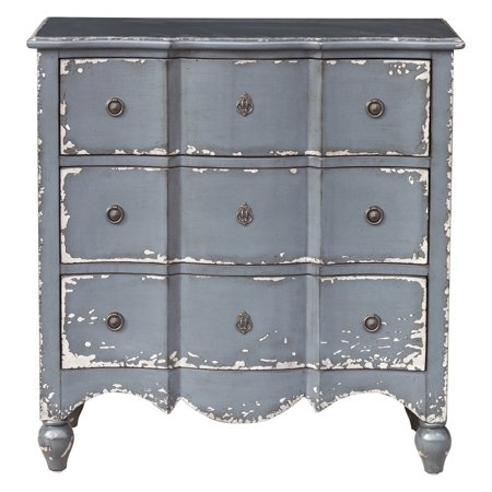 Hand Painted Chess (Traditional Heavily Distressed Hand Painted Light Blue Three Drawer Accent Storage)