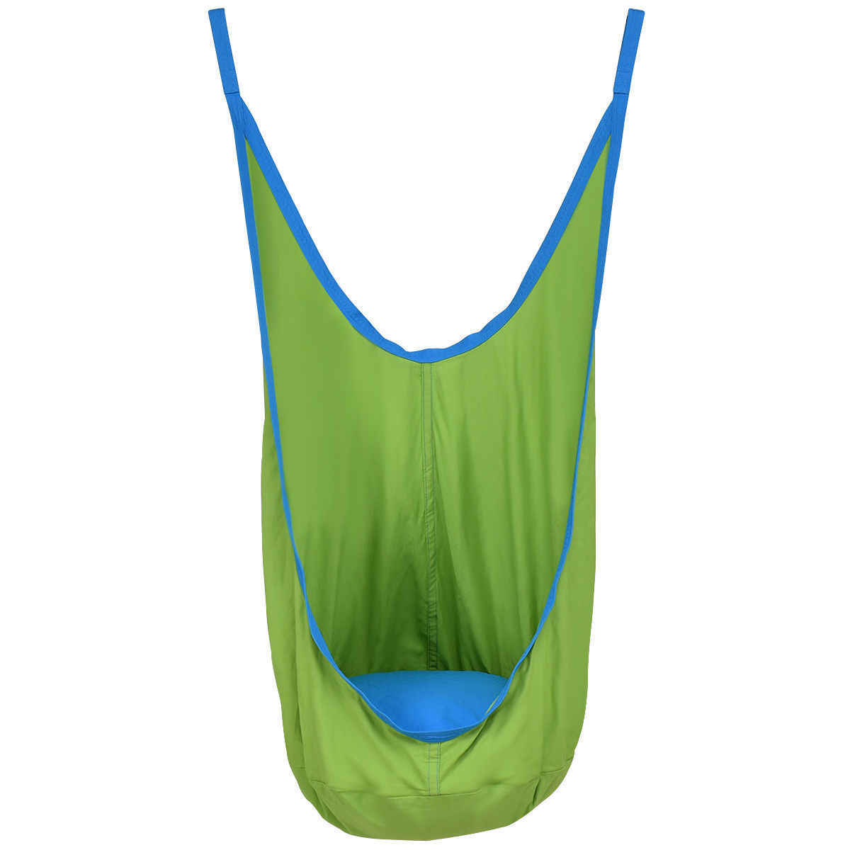 GHP 170-Lbs Capacity Blue Green PVC Cotton Cloth Hammock with Hooks & Nylon Straps