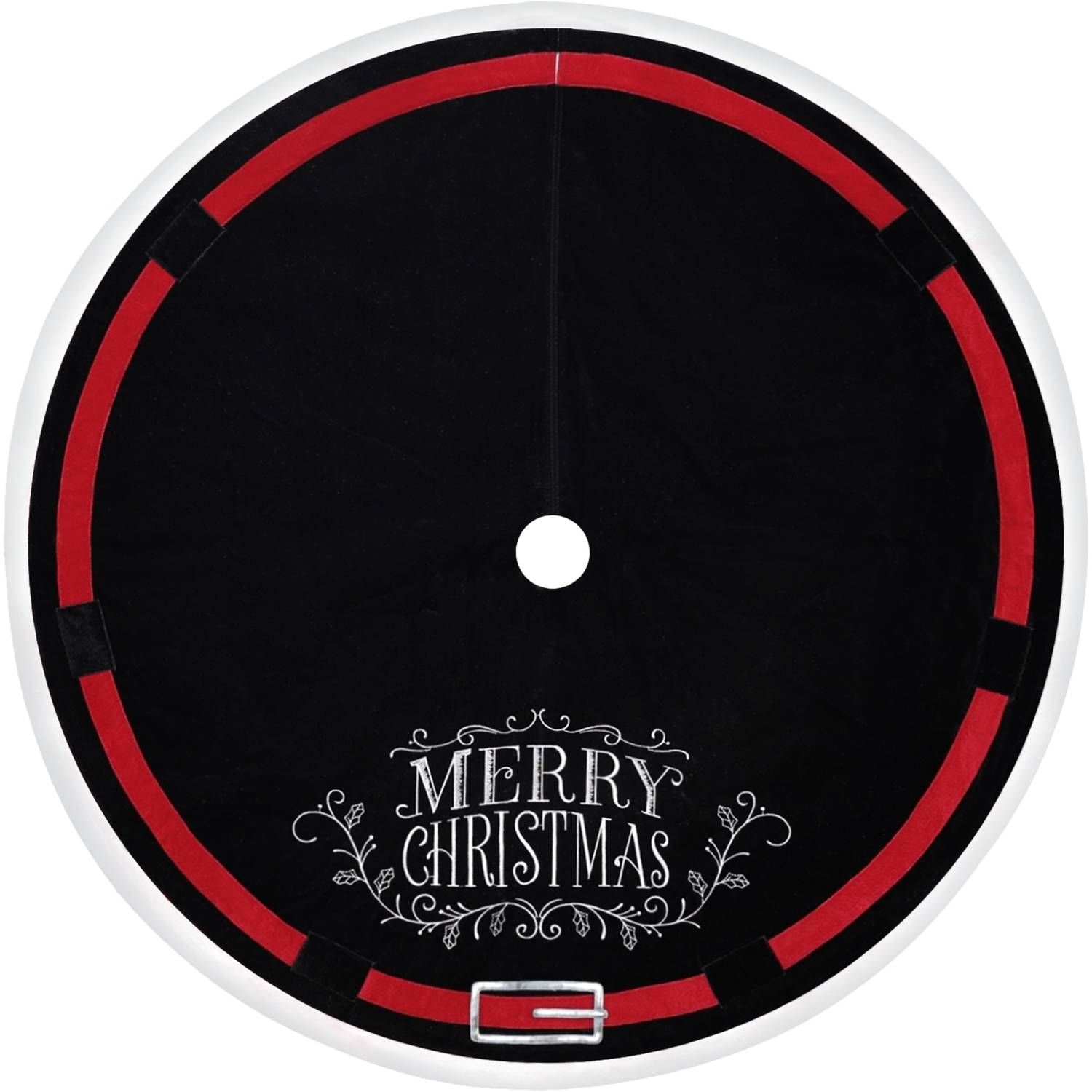 holiday time christmas decor 48 velvet tree skirt with embroidered merry christmas and santa belt buckle black with red belt and silver buckle - Black Christmas Tree Skirt