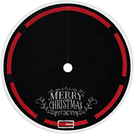 holiday time christmas decor 48 velvet tree skirt with embroidered merry christmas and
