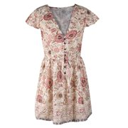 Women Sexy V Collar Short-Sleeve Floral Print Tights Wrapped Waist Lotus Leaf Sleeve Slim Waist Short Dress