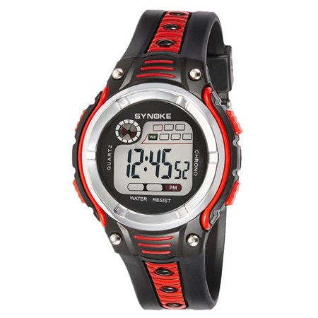 iLH Mallroom SYNOKE Waterproof Children Boys Digital LED Sports Alarm Date Watch Red
