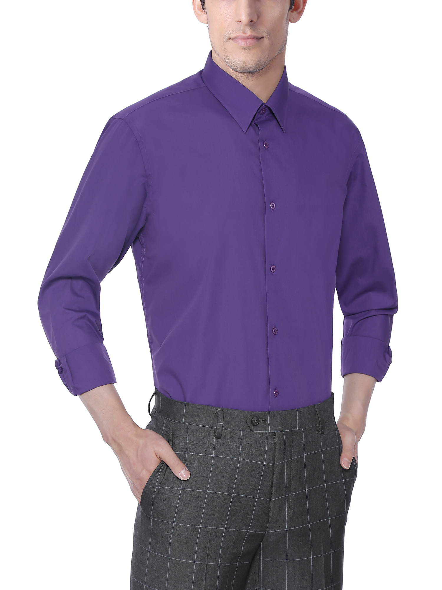Verno Mens Long Sleeve Lilac Color Slim Fit Dress Shirts