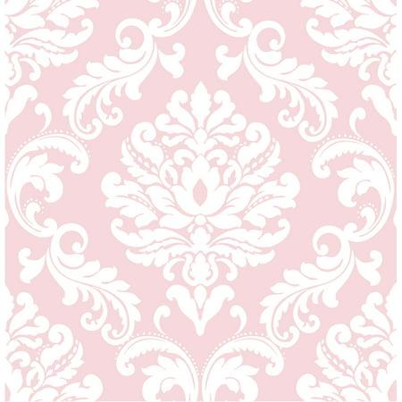 Pink Toile Wallpaper - NuWallpaper Pink Ariel Peel & Stick Wallpaper Sample
