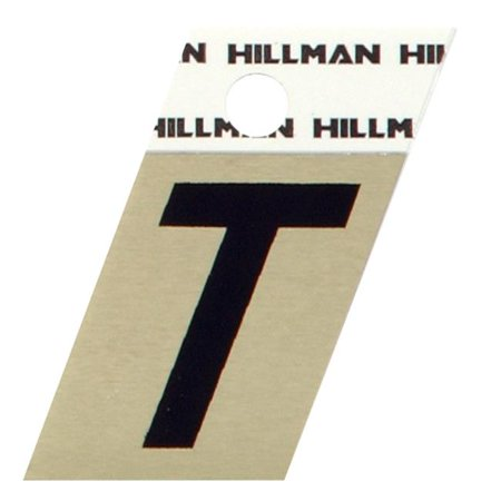 Hillman Group 840532 1.5 in. Black & Gold Glossy Aluminum Angle-Cut Adhesive Letter - T - 5 - Glossy Letter