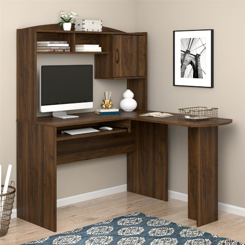 Ebern Designs McBrine L-Shaped Computer Desk with Hutch