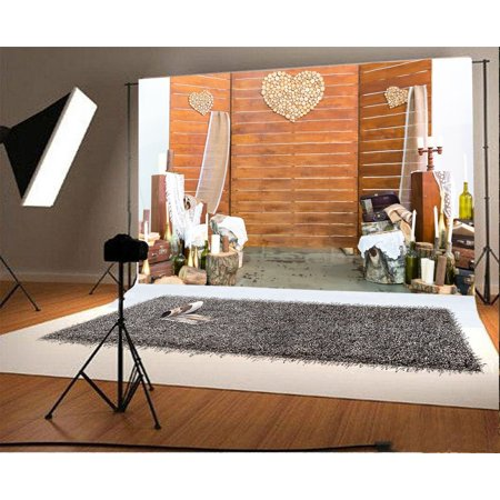 GreenDecor Polyester Fabric 7x5ft Photography Backdrop Room for Photo Session Hearts on Stripe Wooden Wall Scene Photo Background Children Baby Adults Portraits Backdrop