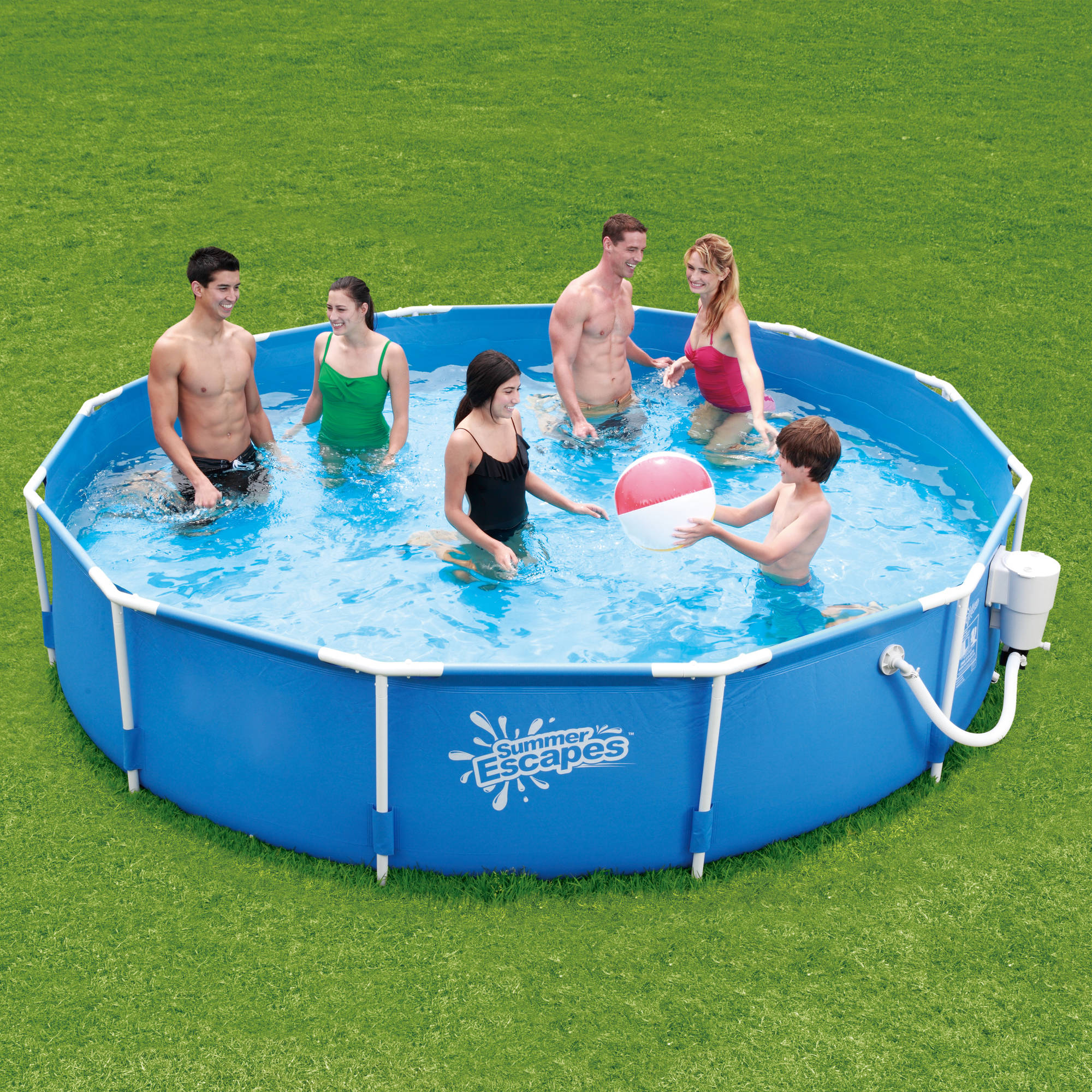 "Summer Escapes 12' x 30"" Round Metal Frame Above Ground Swimming Pool with Skimmer Plus Filter Pump System"