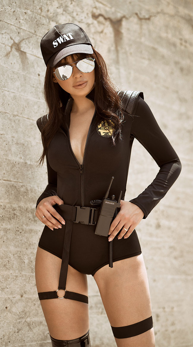 Music legs womens adult swat police officer costume