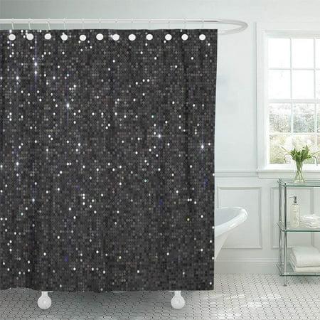 KSADK Abstract Dark Grey Black Sequin Bling Bokeh Bright Celebrate Celebration Christmas Shower Curtain Bath Curtain 66x72 inch ()