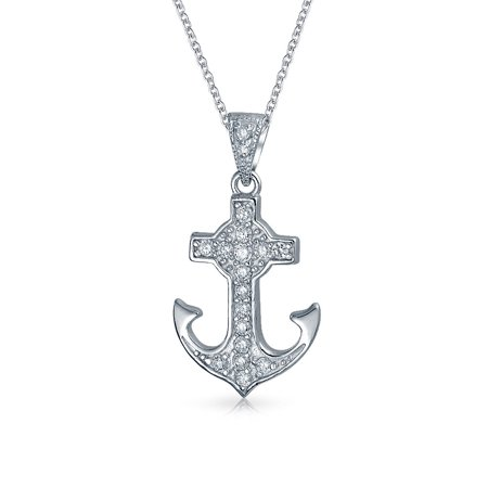 Sterling Silver Small Anchor (Minimalist Small Nautical Pave CZ Ship Boat Anchor Pendant Necklace For Women For Teen 925 Sterling)