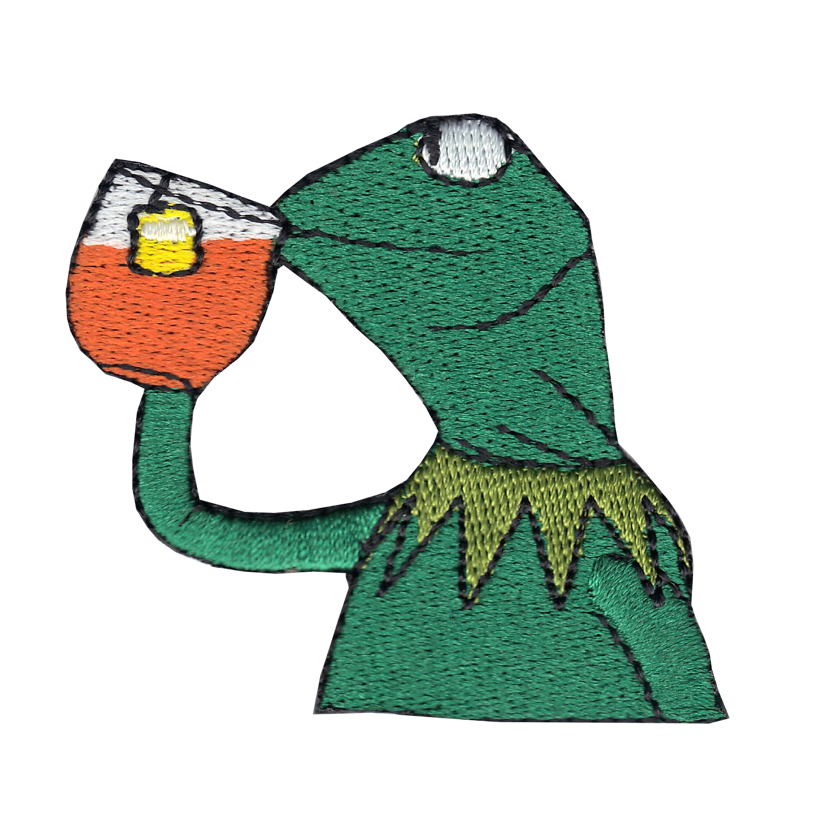 Frog Sipping Tea Iron On Applique Patch