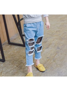 Little Girls Fishnet Ripped Jeans Elastic Waist Kids Casual Hole Denim Pants