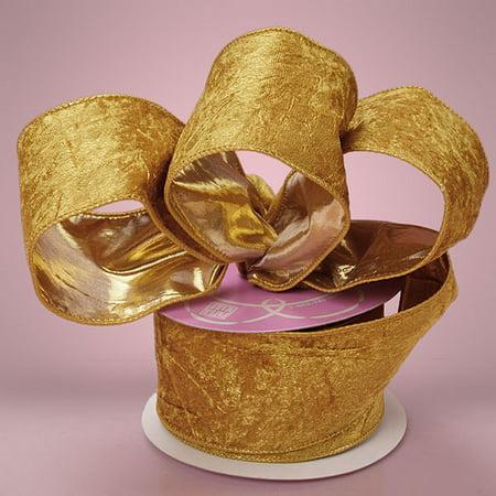 Gold 1-1/2 inches x 10 yards Crushed Velvet Gold Backing Holiday Wedding Ribbon (Crushed Velvet Paper)