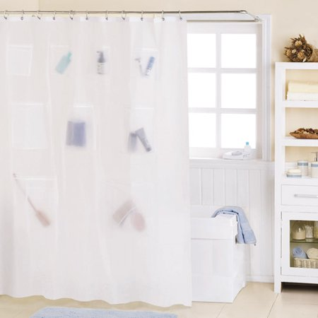 Mainstays Mesh Pockets PEVA Storage Shower Curtain Frosty