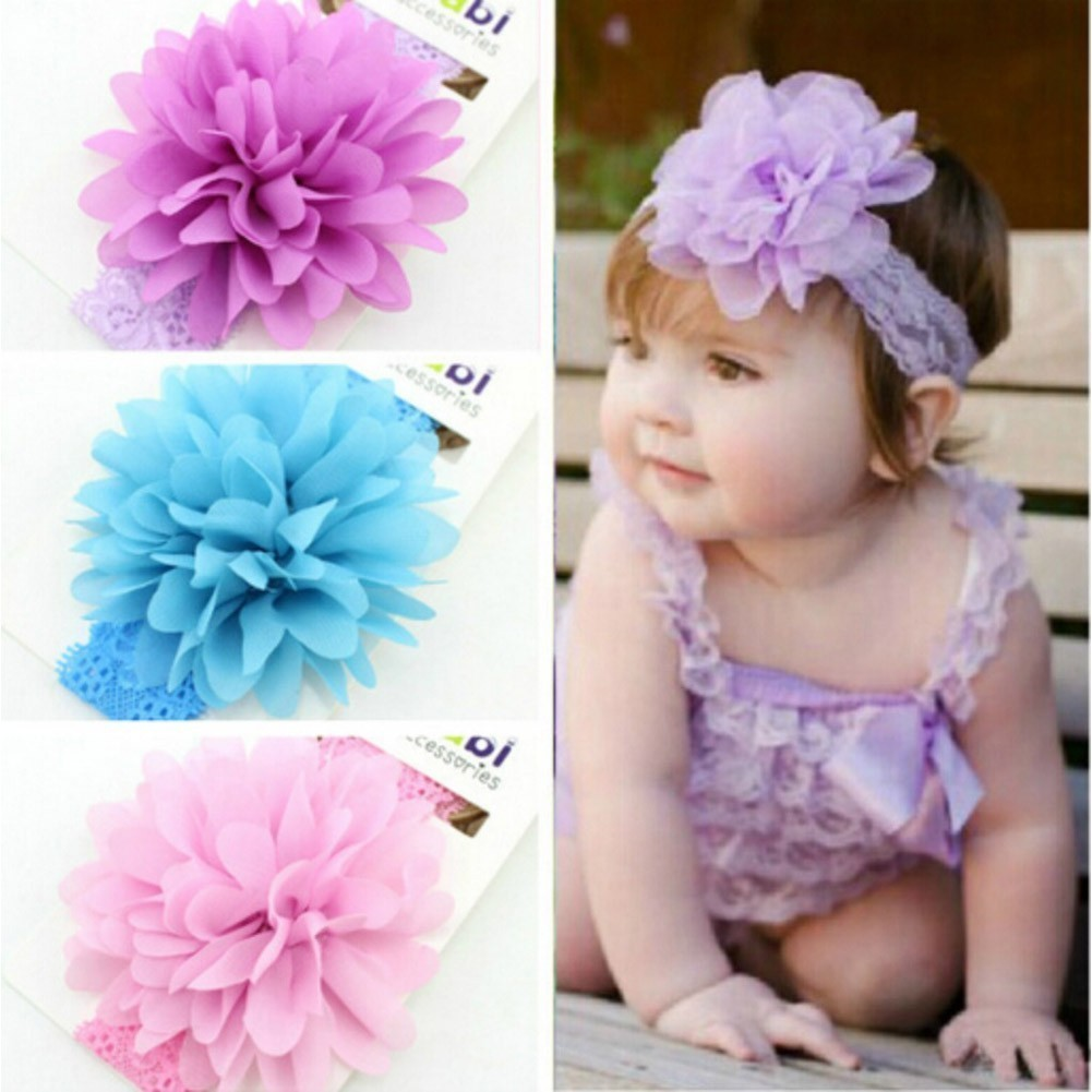Baby Girls Multi Color Petaled Flower Stretch Lace 3 Pc Headband Set