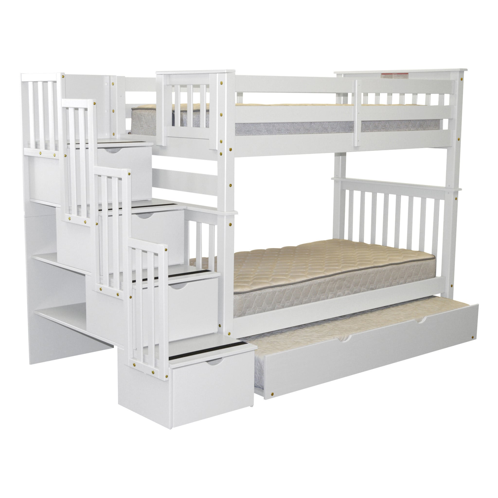 Bedz King Tall Stairway Twin over Twin Bunk Bed with Drawers and a Twin Trundle by Bedz King