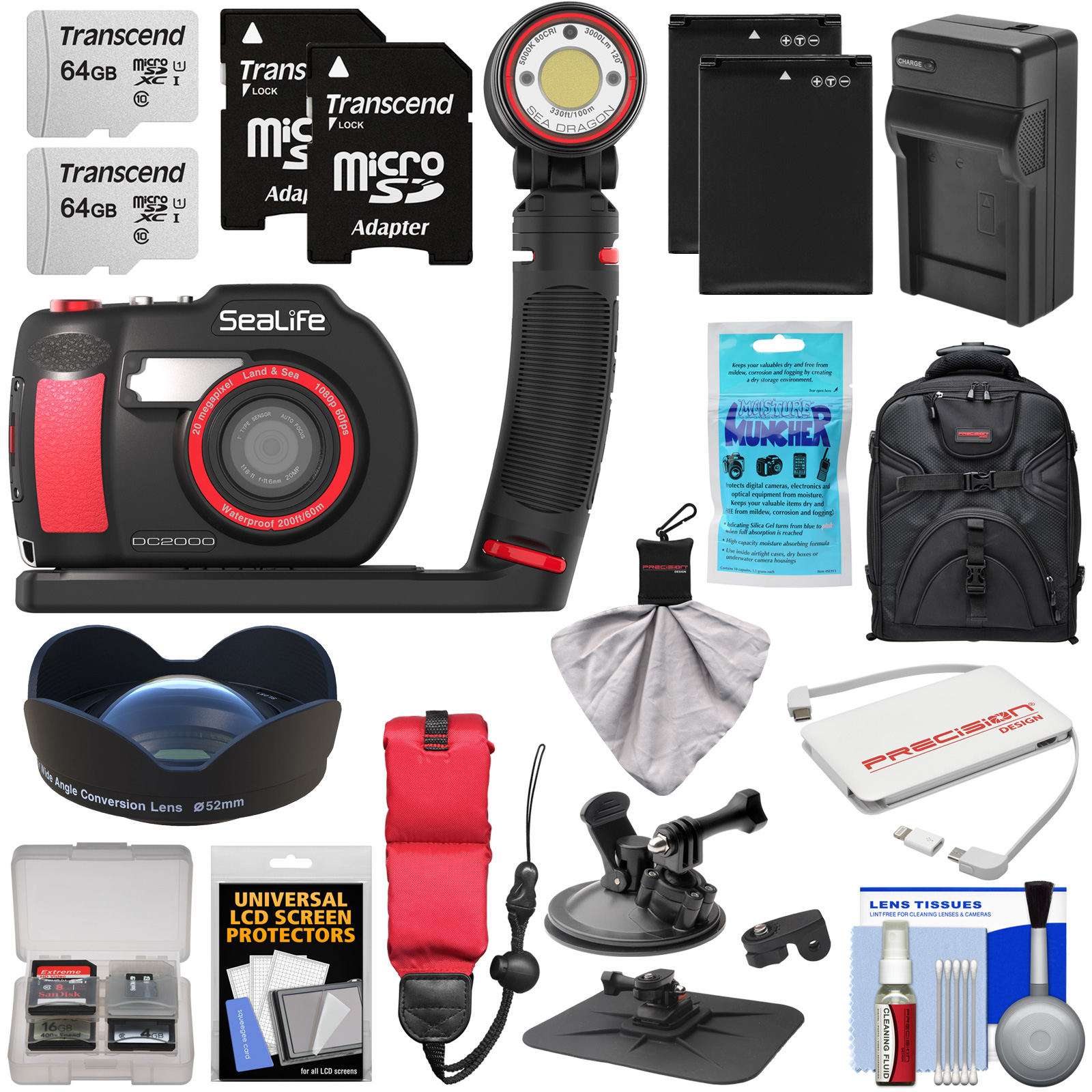 SeaLife DC2000 HD Underwater Digital Camera with Sea Dragon 3000 Auto Light Set + 0.75x Wide Angle Lens + (2) 64GB Cards + Batteries + Charger + Mounts + Backpack Kit