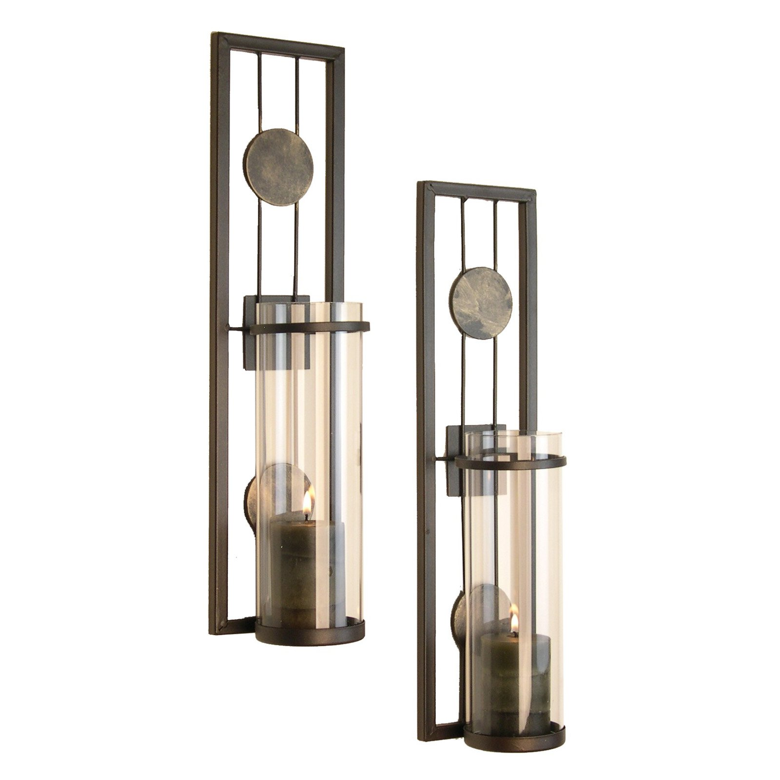 Danya B Contemporary Metal Wall Sconces With Antique Patina Medallions    Set Of 2