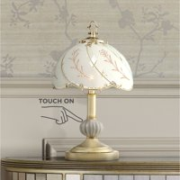 """Regency Hill Traditional Accent Table Lamp 15"""" High Polished Brass Floral Etched Glass Shade Touch On Off for Bedroom Bedside"""