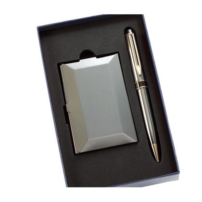 Aeropen International GC-66B Set Gun Metal Card Case and Matching Pen with Gift Box