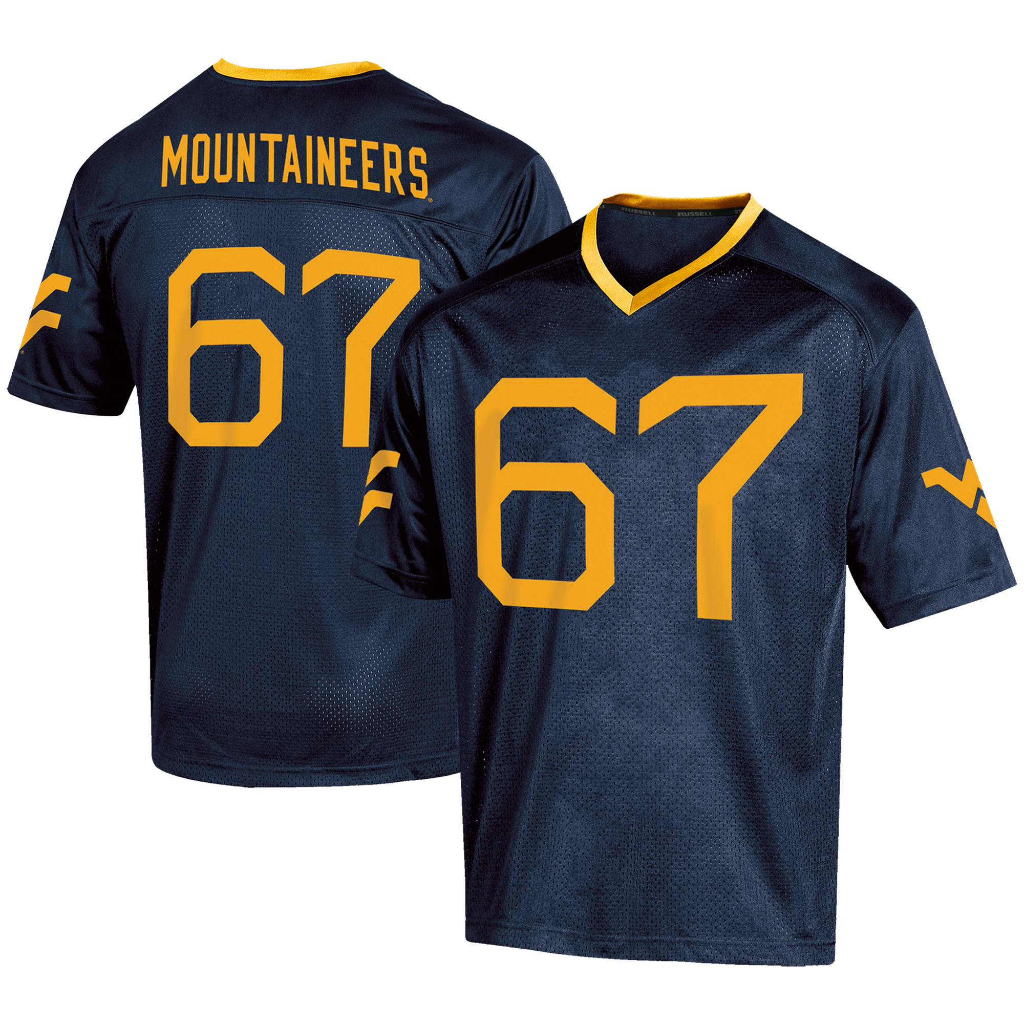Men's Russell #67 Navy West Virginia Mountaineers Fashion Football Jersey