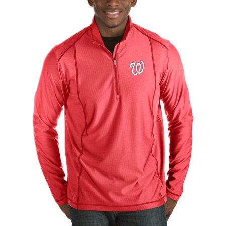Washington Nationals Antigua Tempo Half-Zip Pullover Jacket - Heathered Red