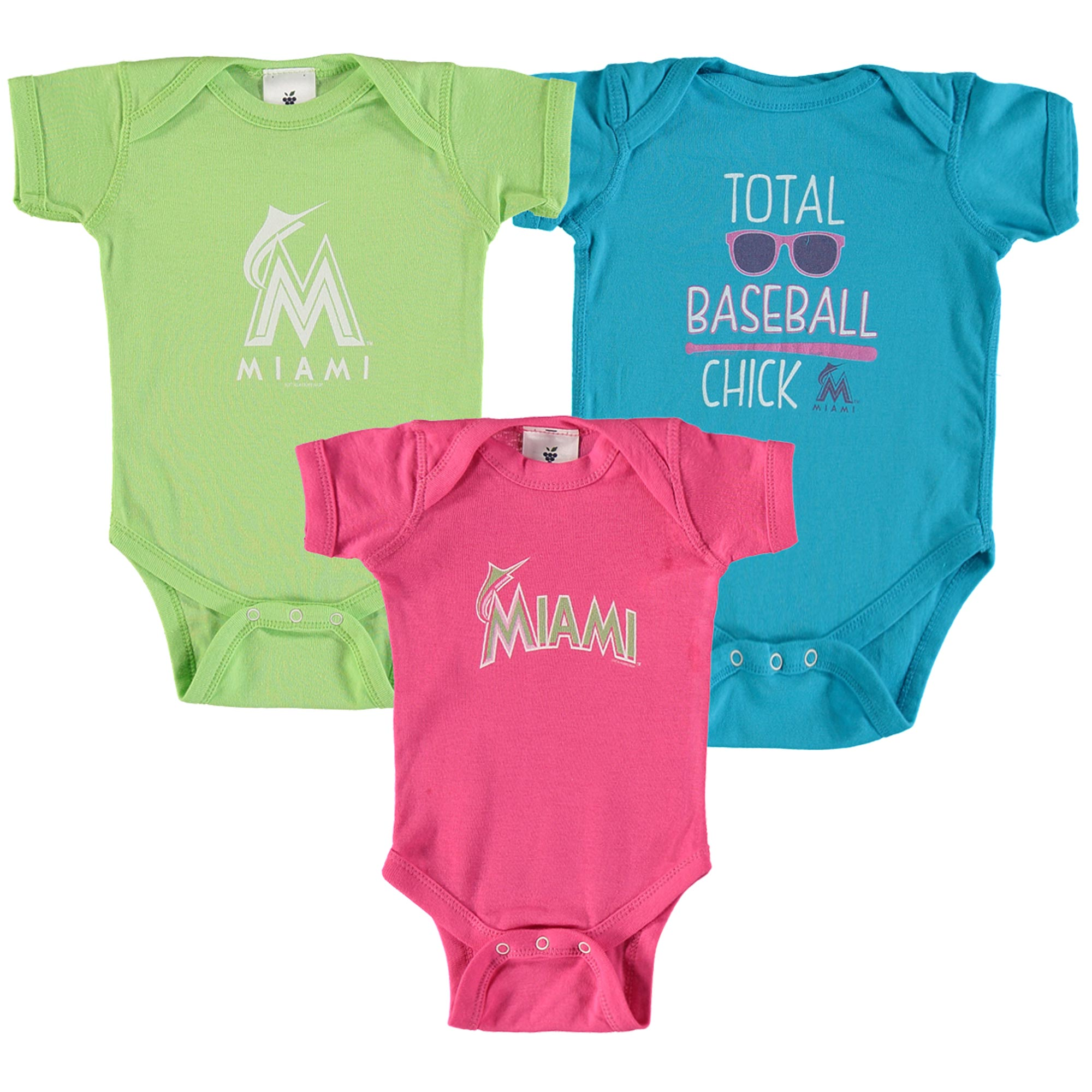 Miami Marlins Soft As A Grape Girl's Newborn & Infant Grow With Me Three-Pack - Blue/Green/Pink - 0-12 MO