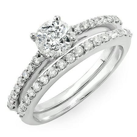 Dazzlingrock Collection 0.35 Carat (Ctw) 14k Round Diamond Ladies Semi Mount Bridal Ring Engagement Set (No Center Stone), White Gold, Size 9 Semi Mount Bridal Sets