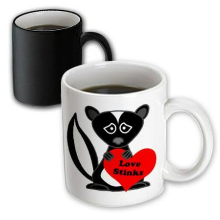 3dRose Love Stinks Cute Cartoon Skunk, Magic Transforming Mug, 11oz