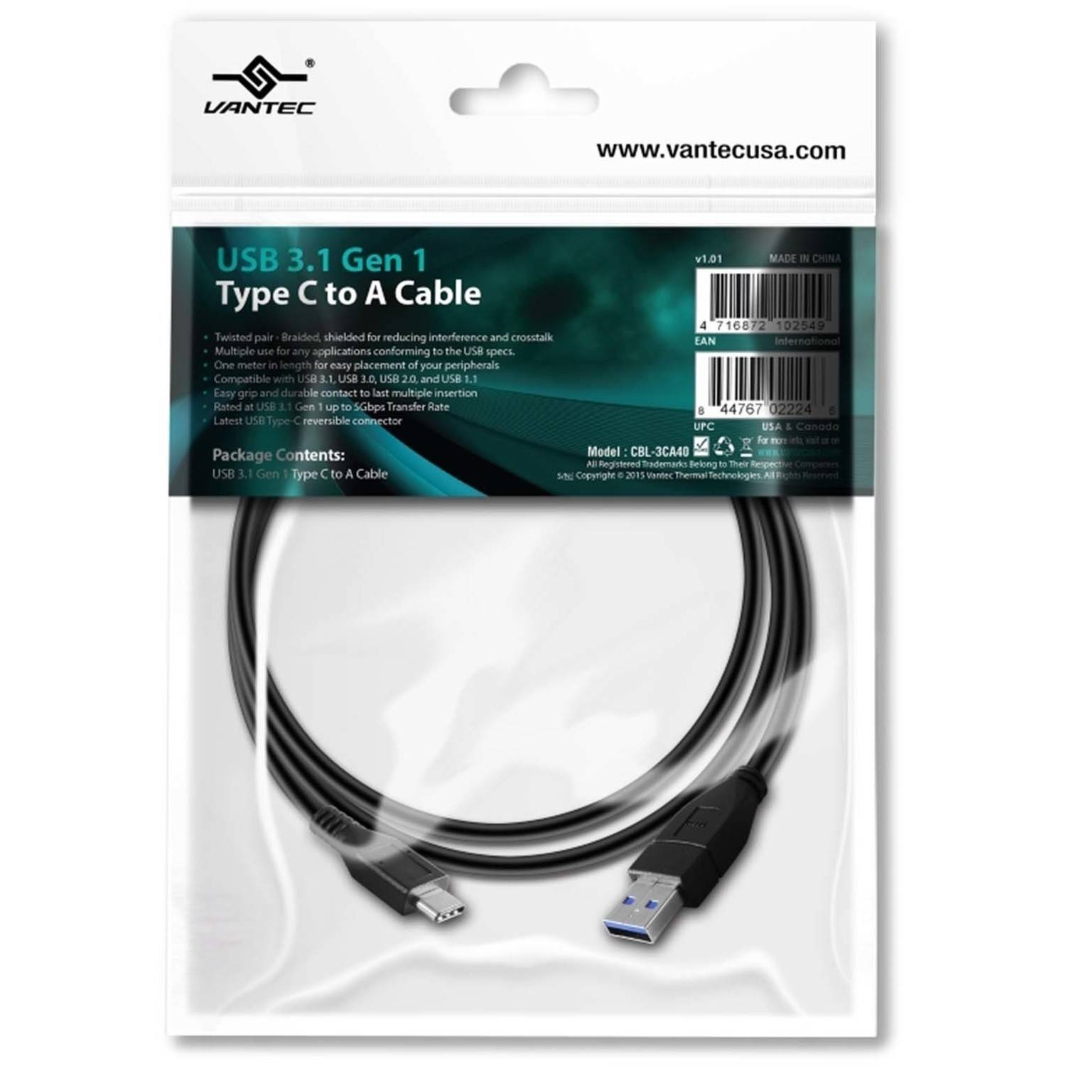 Vantec CBL-3CA40 USB 3.1 Type C to USB-A Cable, Black