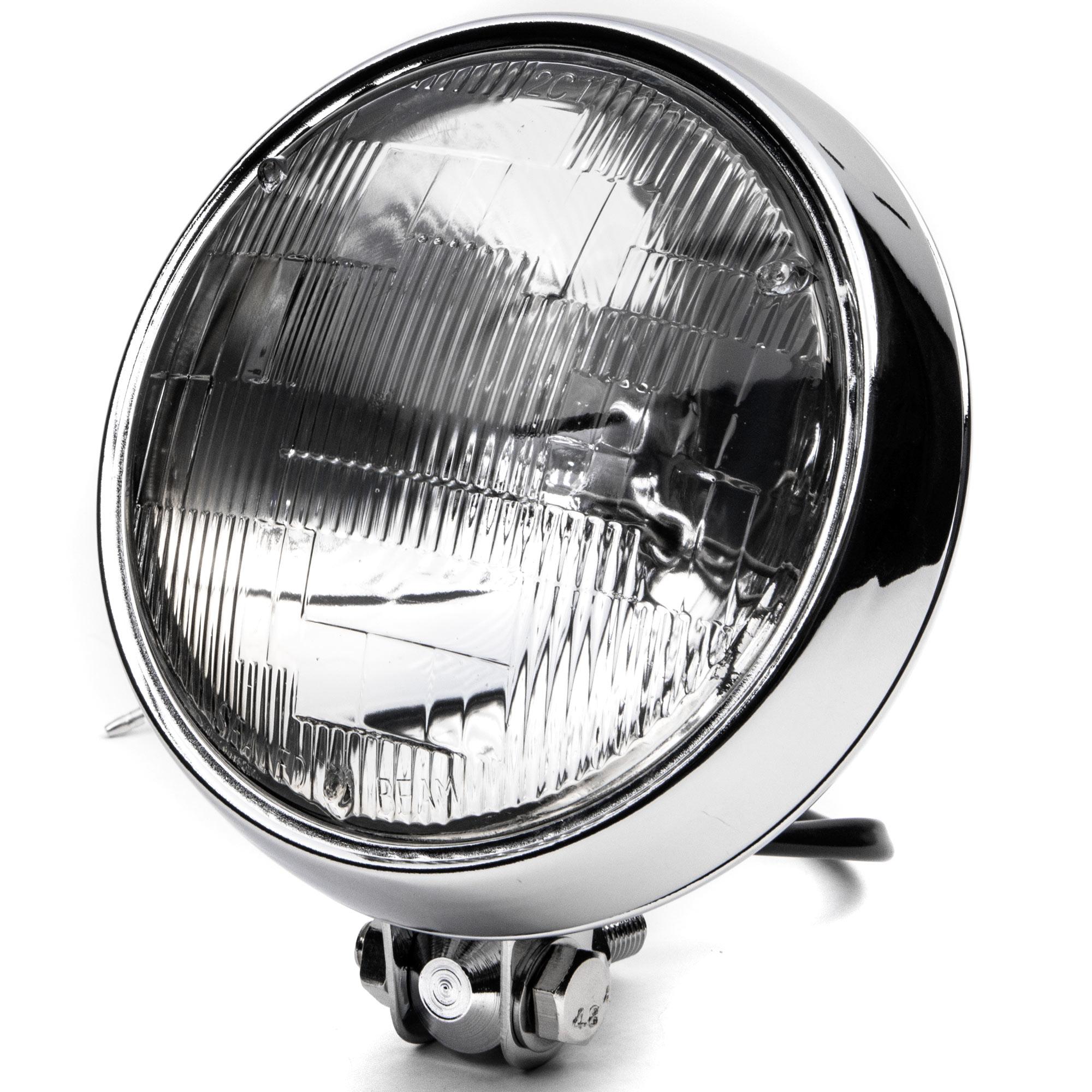 "KapscoMoto Krator 6"" Chrome Motorcycle Headlight Bottom M..."