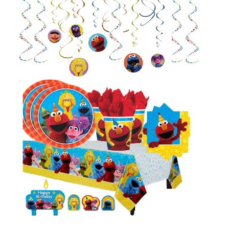 Sesame Street Birthday Party Pack with Decorations for 16 - Shipped Fedex - Sesame Street Party Decorations