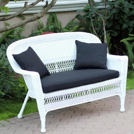 Jeco White Wicker Loveseat With Cushion And Pillows