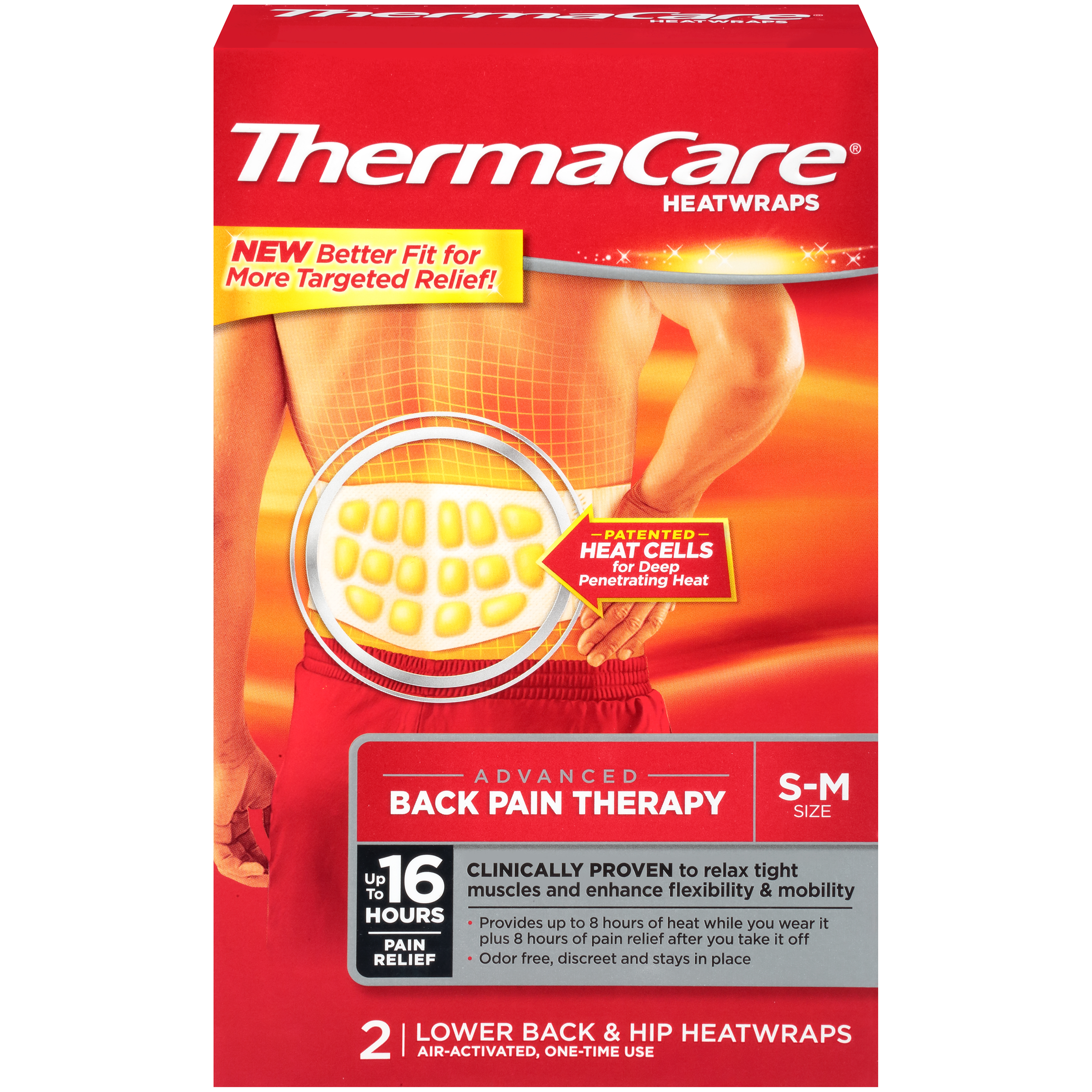 ThermaCare Advanced Back Pain Therapy (2 Count, S-M Size) Heatwraps, Up to 16 Hours Pain Relief, Lower Back, Hip Use, Temporary Relief of Muscular, Joint Pains